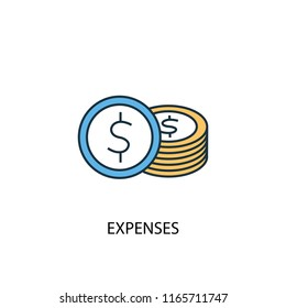 Expenses concept 2 colored line icon. Simple yellow and blue element illustration. Expenses concept outline symbol design from Accounting set