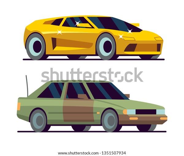 Expensive Car Cheap Car New Yellow Stock Vector (Royalty