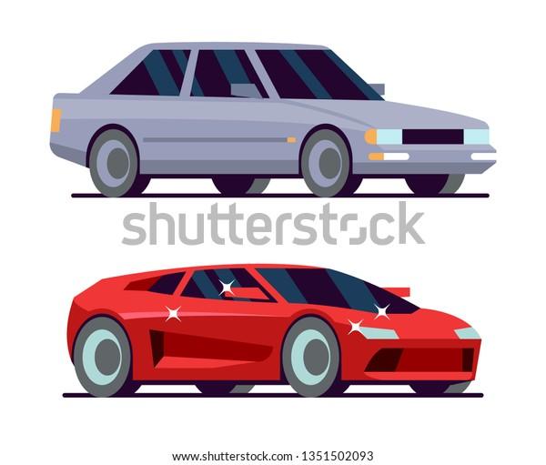 Expensive Car Cheap Car Red Supercar Stock Vector (Royalty
