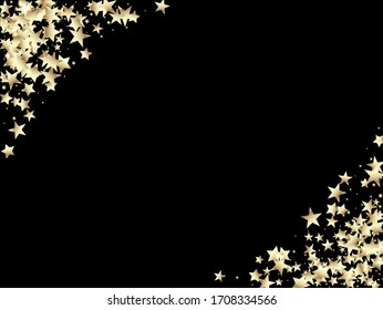 Expensive Elegant New Year Christmas Celebration Vector Background. Sparkling Winter Foil. Gold, Silver VIP Falling Stars Confetti. Rich Gold, Silver Glitter, Sparkles, Gradient Stars Confetti.