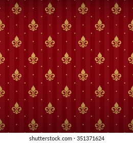 Expensive king seamless pattern with gold heraldic fleur-de-lys ornament elements on empire red shine striped background with round fill out. Elegant texture for wallpapers, curtains.