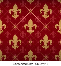 Expensive kingly seamless pattern with gold lily ornament signs in style of fashion on empire red shaded background with square and dot fill out. Attractive pattern design for all kinds of surfaces.