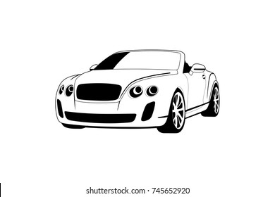 expensive white car convertible. Bentley Continental GT