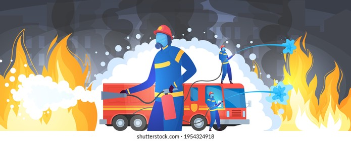 Experienced firefighters on mission, rescue work, extinguishing fire, dangerous profession, cartoon style, vector illustration.