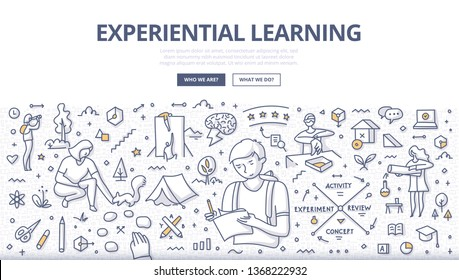 Experiential learning concept. People learn naturally through reflection on doing, transformation of experience. Learning strategy. Doodle illustration for web banners, hero images, printed materials