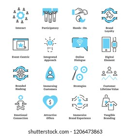 Experiential marketing flat icon collection set. Vector illustration with typical strategy concept. Symbol of interacting, brand loyalty, emotional connection and others.