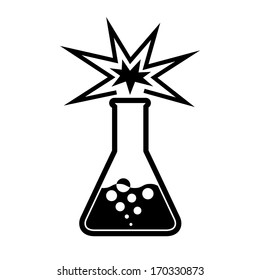 experiment in beaker. chemical background. vector icon. eps8