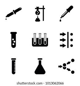 Experiment icons. set of 9 editable filled experiment icons such as pipette, test tube