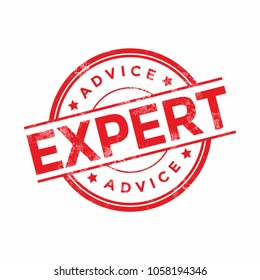 Expert advice red rubber stamp. vector