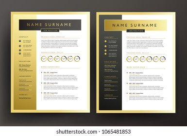 Expert CV / resume template in black and gold colors - professional curriculum vitae vector design sample - golden background