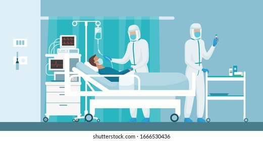 Expert doctors wearing protective suits and healping a patient with coronavirus lying in a hospital bed, virus outbreak concept
