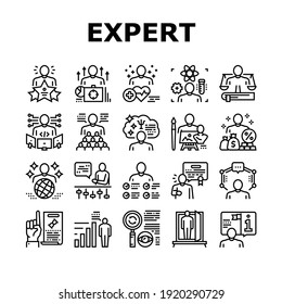 Expert Human Skills Collection Icons Set Vector. Universal And Business Expert, Lawyer And Economic, Technical And Social, Art And Medical Black Contour Illustrations