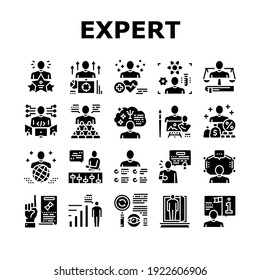 Expert Human Skills Collection Icons Set Vector. Universal And Business Expert, Lawyer And Economic, Technical And Social, Art And Medical Glyph Pictograms Black Illustrations
