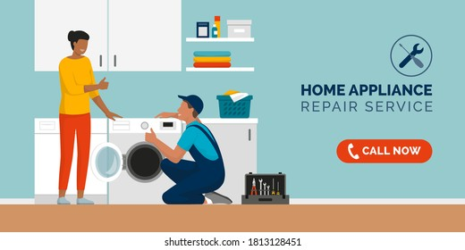 Expert repairman fixing a washing machine at home and happy customer smiling, home appliance repair service concept