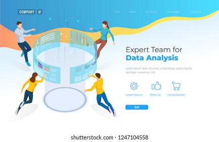 Expert Team for Data Analysis. Isometric Business Data Analytics process management or intelligence dashboard on the virtual screen. Template for website, landing page.