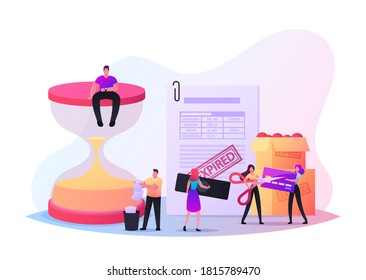 Expiration Concept with Tiny Male and Female Characters at Huge Hourglass, Boxes with Spoiled Food. Woman Cutting Expired Credit Card with Scissors. Time is Up. Cartoon People Vector Illustration
