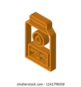 expiry date isometric right top view 3D icon