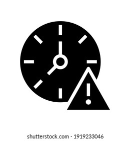 Expiry glyph icon. Simple solid style for web and app. Alert, alarm, clock circular with exclamation mark concept. Vector illustration isolated on white background. EPS 10