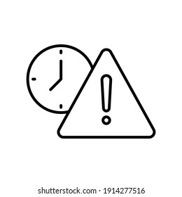 Expiry line icon. Simple outline style for web and app. Alert, alarm, clock circular with exclamation mark concept. Vector illustration isolated on white background. EPS 10