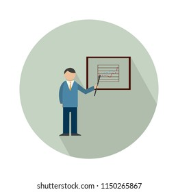 explain company plan icon - Presentation billboard sign icon. Scheme and Diagram symbol. Vector Graphic element.