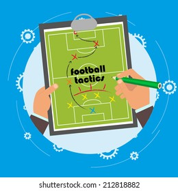 explanation of the team football tactics. presentation tactics during the game. alignment of the team on the field. vector illustration in plosm style. the first person.