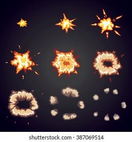 Explode effect animation. Cartoon bang explosion frames