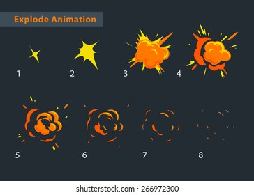 Explode effect animation. Cartoon explosion frames