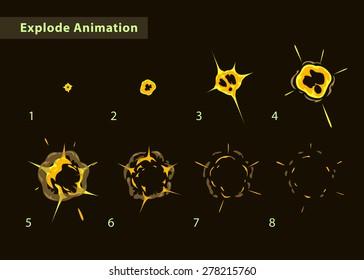 Explode effect animation. Cartoon explosion frames