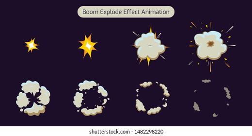 Explode Effect Animation with smoke. Animation for game and Cartoon. vector fx illustration- Vector