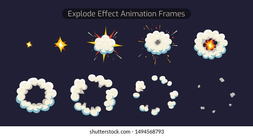 Explode Effect Animation and smoke. This Animation for Cartoon and Video Game.Sprite Sheet explosion frames. Vector illustration.