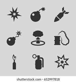 Explode icons set. set of 9 explode filled icons such as bomb, rocket bomb, dynamite, explosion, smoking can