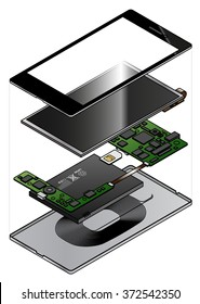 An exploded diagram showing the internal components of a smart phone with a wireless charging induction loop.