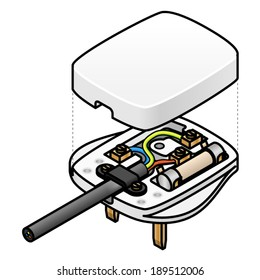 An exploded diagram of a UK mains AC plug showing the wiring and fuse.