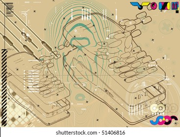 Exploded technical diagram abstract of a mobile phone.
