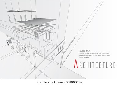 An exploded view of a building