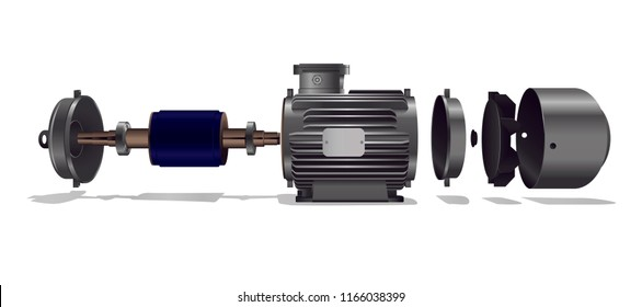 Exploded view of a motor
