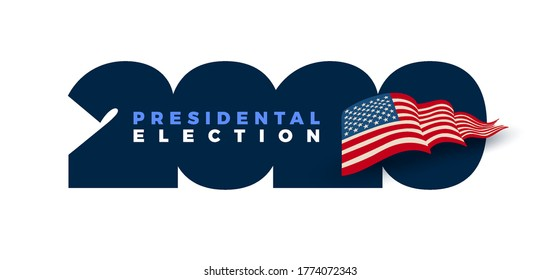 Exploding American stars. Vote 2020 in USA. Typographic vector design. USA debate of president voting. Election voting design. Political election campaign.