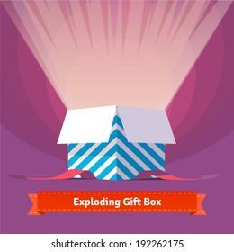 Exploding celebration gift box. EPS10 vector.