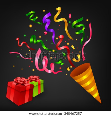 Exploding Colorful confetti popper with gift box birthday party  sc 1 st  Shutterstock & Exploding Colorful Confetti Popper Gift Box Stock Vector (Royalty ...