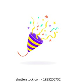 Exploding colorful party popper with confetti, isolated on white. Cartoon flat design. Vector illustration.