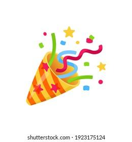 Exploding party popper with confetti, bright cartoon birthday cracker. Isolated vector illustration of celebration symbol emoji