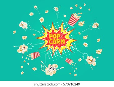 Exploding popcorn. Cartoon happy cute characters for fastfood design. Vector illustration.