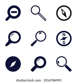 Exploration icons. set of 9 editable filled exploration icons such as compass, search, zoom out
