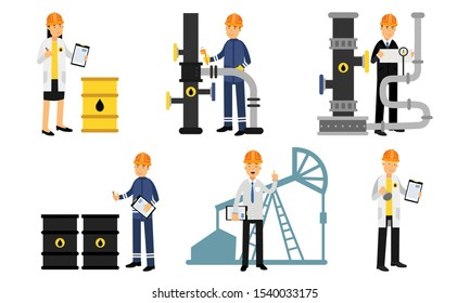 The Exploration And Production Life Cycle Of Oil And Gas Vector Illustration Set Isolated On White Background