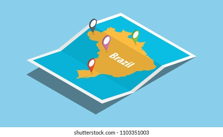 explore brazil maps with isometric style and pin location tag on top vector illustration