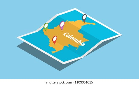 explore colombia maps with isometric style and pin location tag on top vector illustration