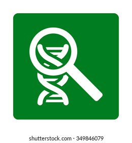 Explore DNA vector icon. Style is flat rounded square button, white and green colors, white background.