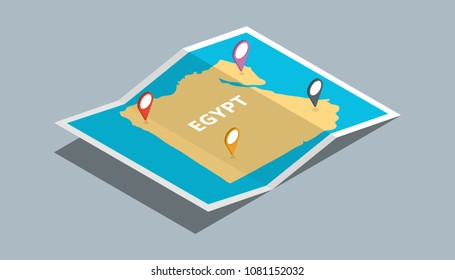 explore egypt maps with isometric style and pin location tag on top