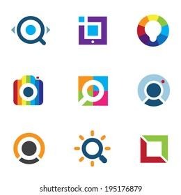 Explore fun colorful world social internet community network logo icon