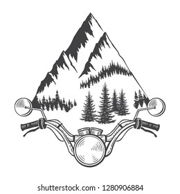 Explore graphic vector illustration of motorcycle front and mountains. Travel, outdoor, adventure symbol. Racing chopper club emblem. Hand drawn engraving style for tattoo, print, poster, sticker, car